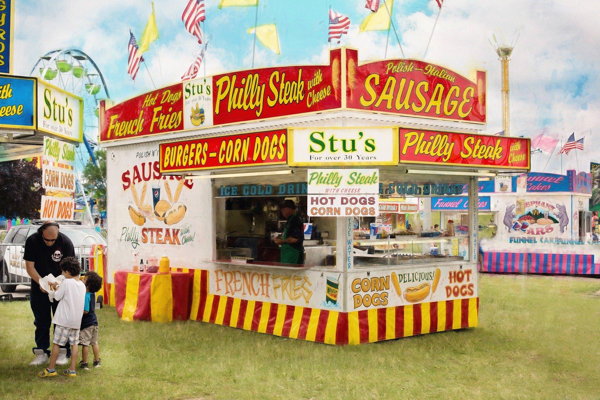 Carnival vendor selling sandwiches