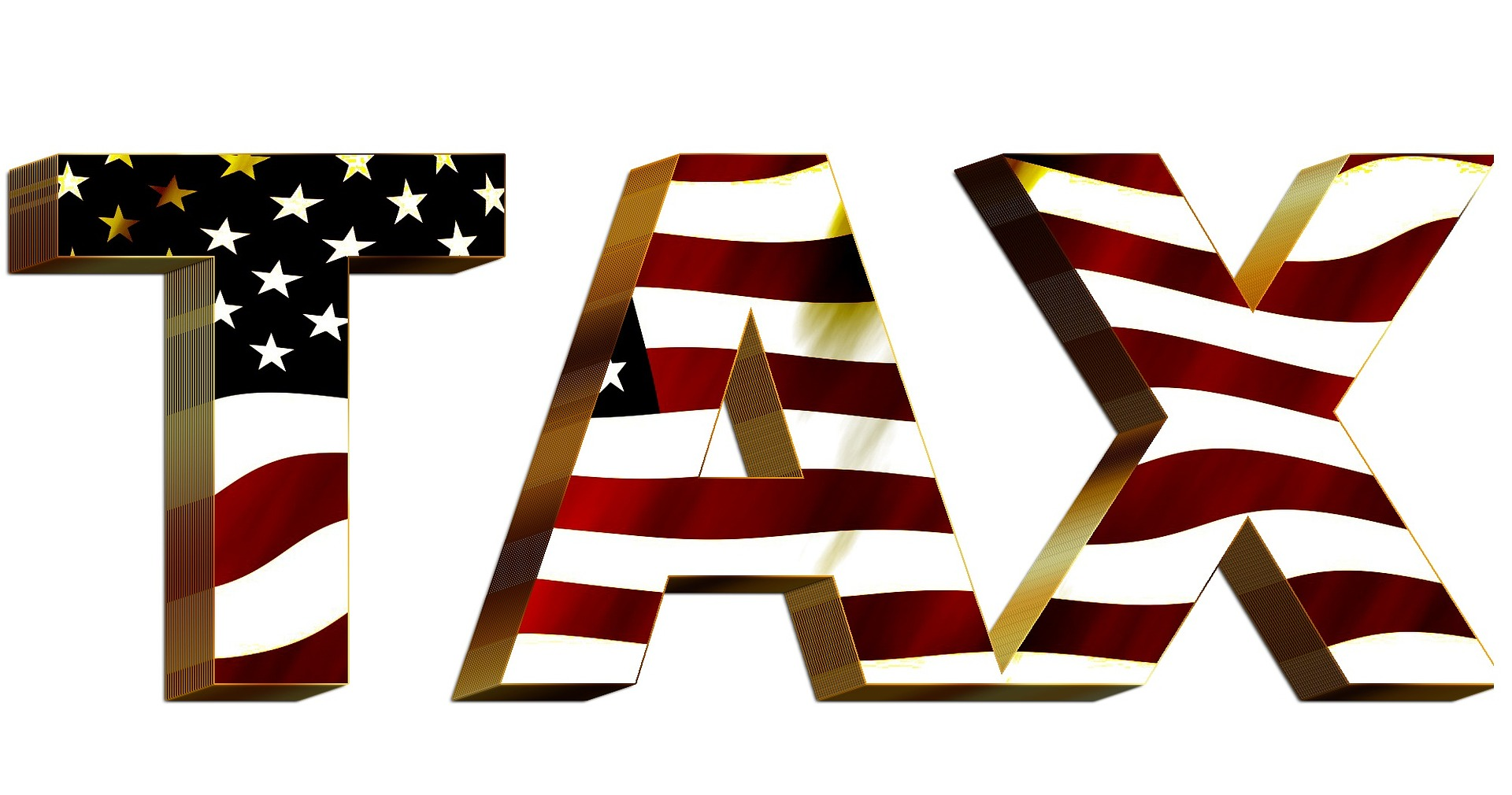 taxes with american flag